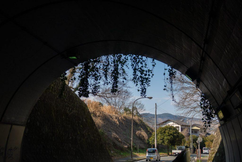 暖簾がかかったおしゃれな二宮隧道